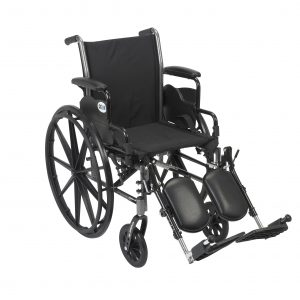 Drive Medical Cruiser III Light Weight Wheelchair with Flip Back Removable Full Arms, Elevating Leg Rests